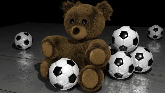 Teddy bear soccer balls 3d art, sports.