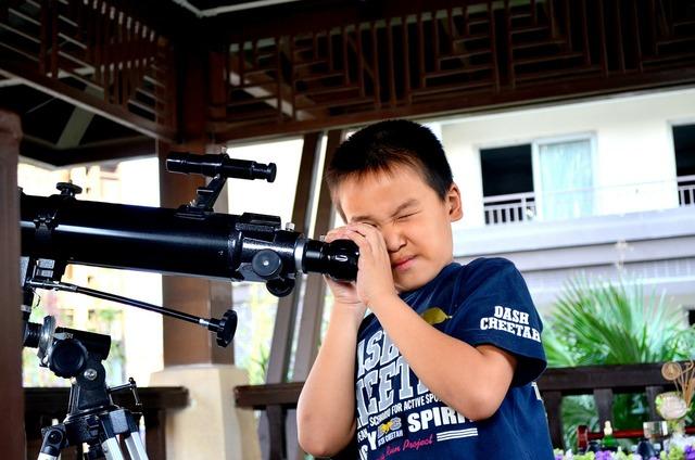 Telescope boy young, people.