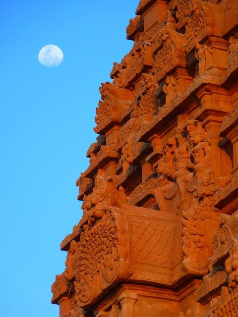 Temple brihadeshwara templ moon, religion.