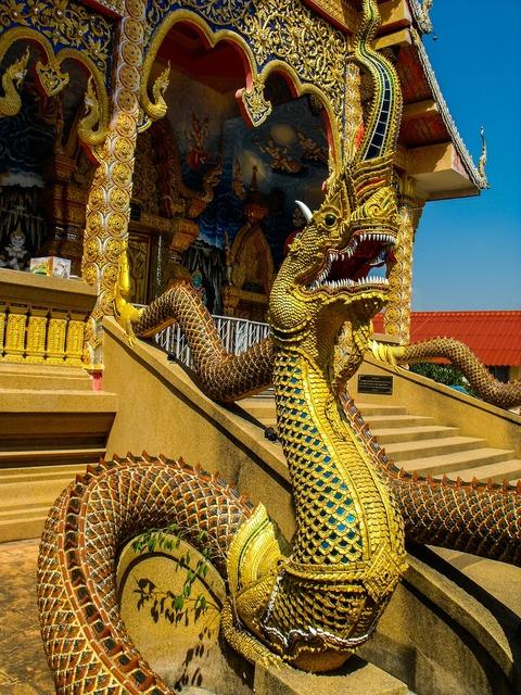 Temple dragons dragon's head, religion.