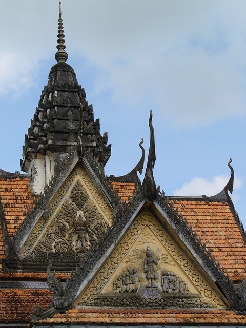 Temple roof ornament vietnam, religion.