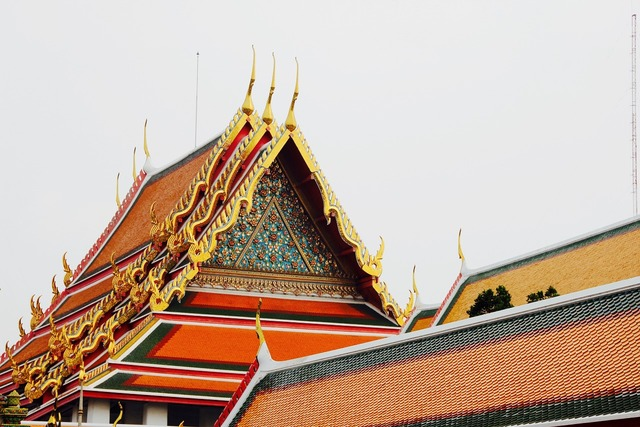 Temple roof pagoda, religion.