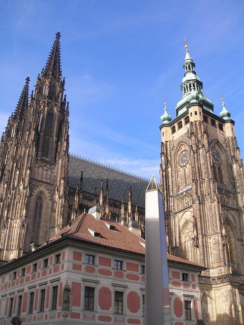 Temple st vitus cathedral prague castle, places monuments.
