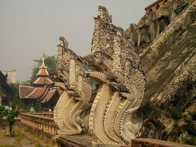 Temple thailand dragons, religion.