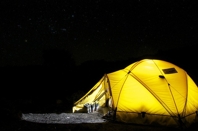 Tent camp night, travel vacation.