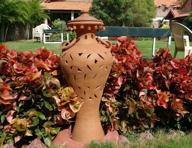 Terracotta garden urn.