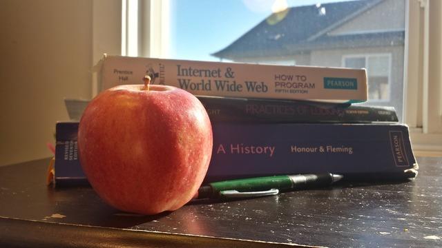 Textbook apple pencil, education.