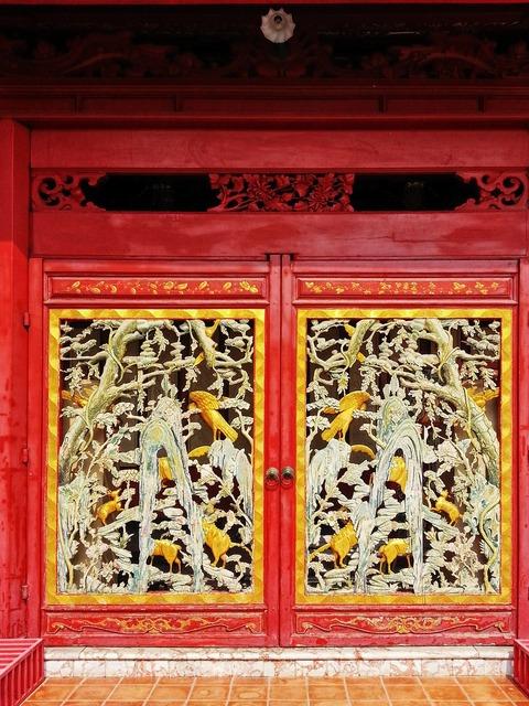 Thailand art door old door, architecture buildings.