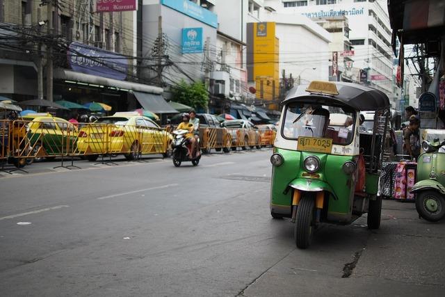 Thailand bangkok market, transportation traffic.