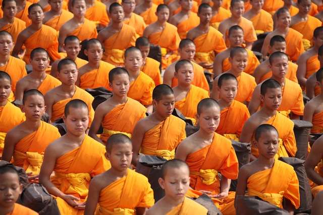 Thailand buddhists monks, religion.