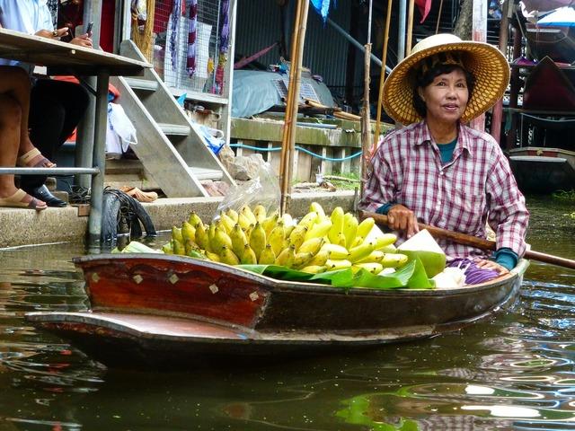 Thailand plantains market, beauty fashion.