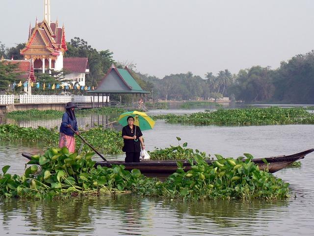 Thailand river boat, transportation traffic.