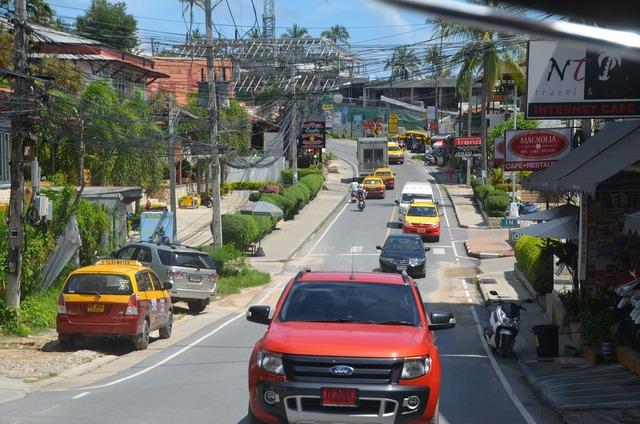 Thailand street asia, transportation traffic.
