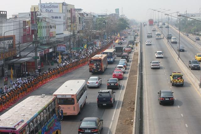 Thailand street traffic, transportation traffic.