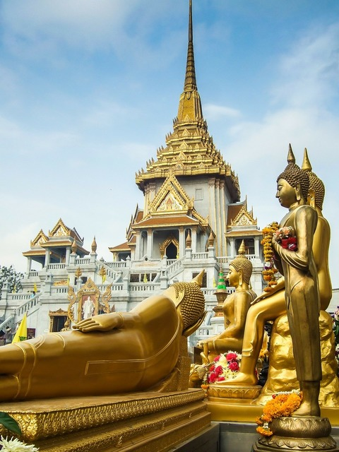 Thailand temple gold, religion.