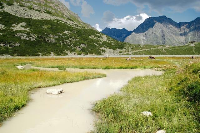 The alps austria glacial stream.