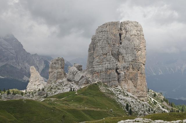 The dolomites mountains cinque torri.