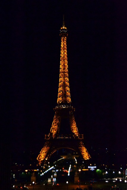 The eiffel tower night lighting.