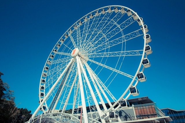 The ferris wheel simple blue sky, architecture buildings.