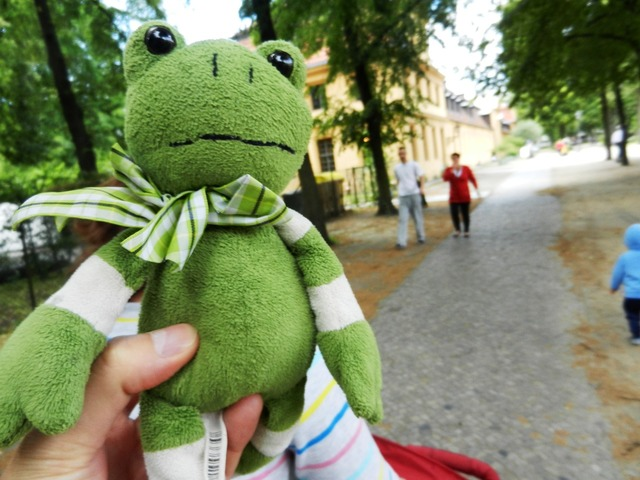 The frog żabka the mascot, travel vacation.