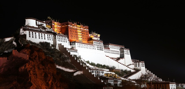 The potala palace tibet night.