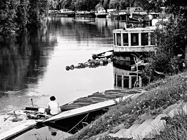 The river seine seine the barge, architecture buildings.