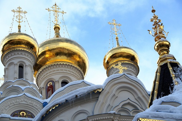 The russian orthodox church dome golden, architecture buildings.