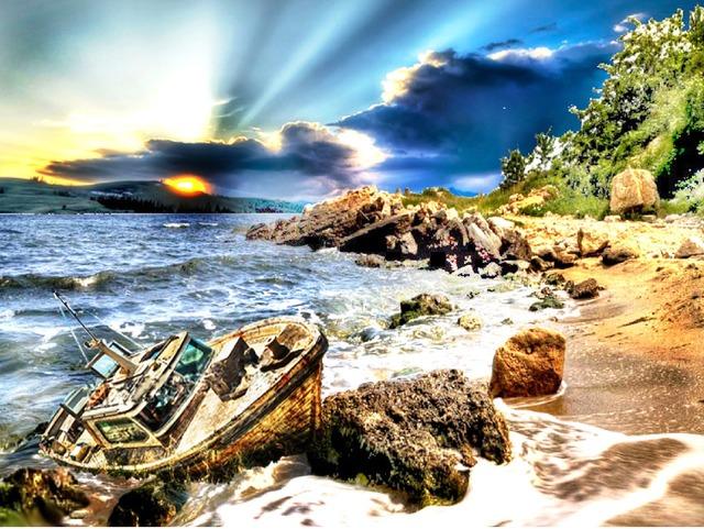 The sea in bulgaria boat beach, travel vacation.