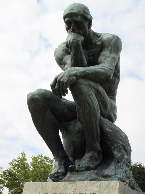 The thinker bronze sculpture.