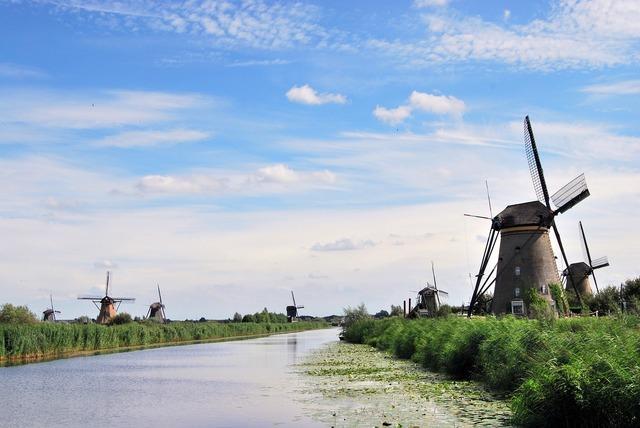 The windmills kinderdijk river.