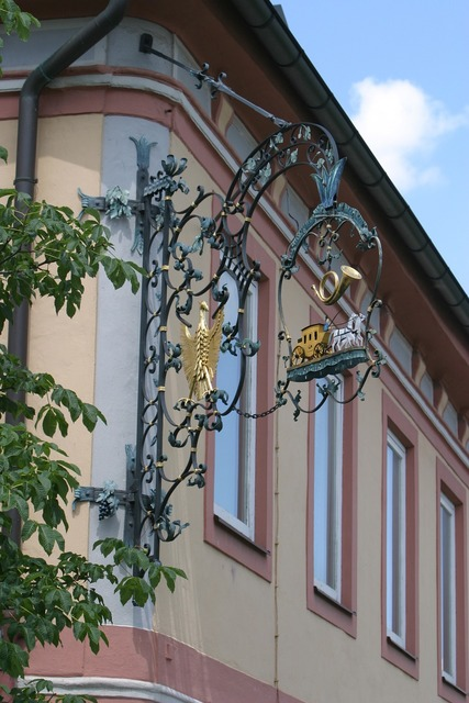 Thurn and taxis shield hotel sign, places monuments.