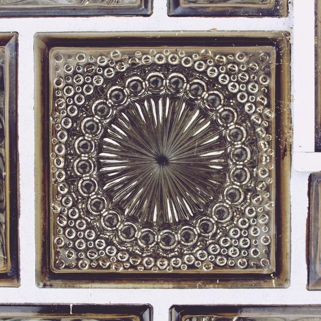 Tile glass ornament, architecture buildings.