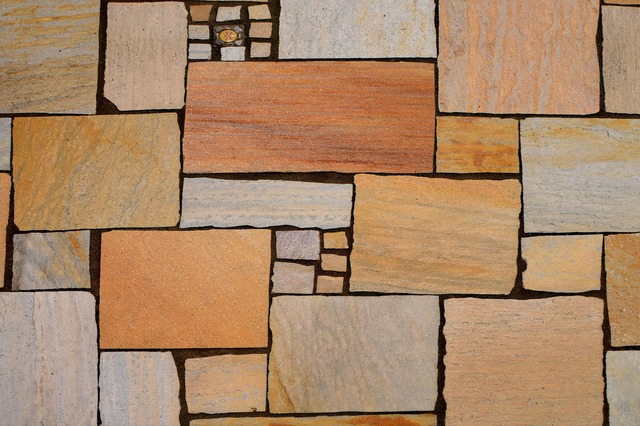 Tiles garden terrace.