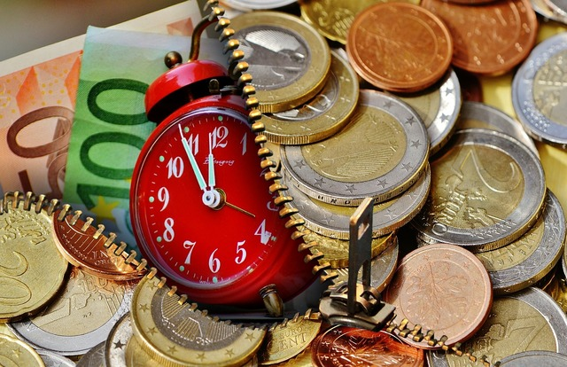 Time is money currency euro, business finance.