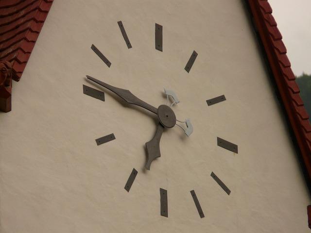 Time of church clock clock.