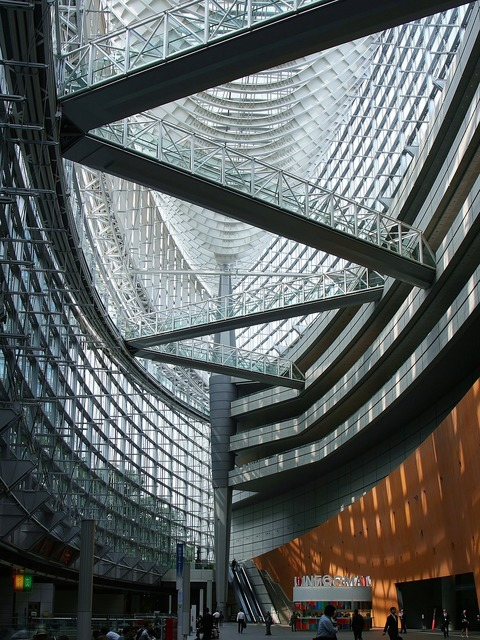 Tokyo international forum glass building, architecture buildings.