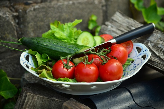 Tomatoes cucumbers salad, food drink.