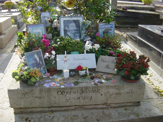 Tomb of serge gainsbourg montparnasse cemetery paris.