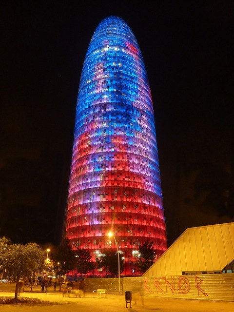 Torre agbar building architecture, architecture buildings.