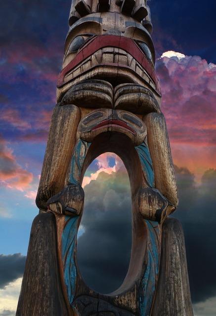 Totem pole grunge wooden pole, religion.