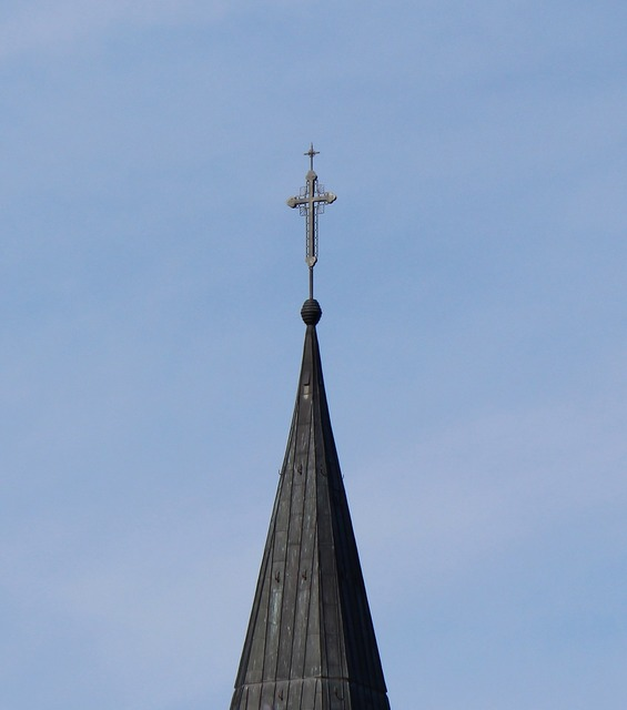Tower steeple cross, religion.