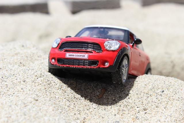Toy car mini cooper, transportation traffic.
