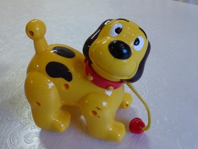 Toy dog yellow, animals.