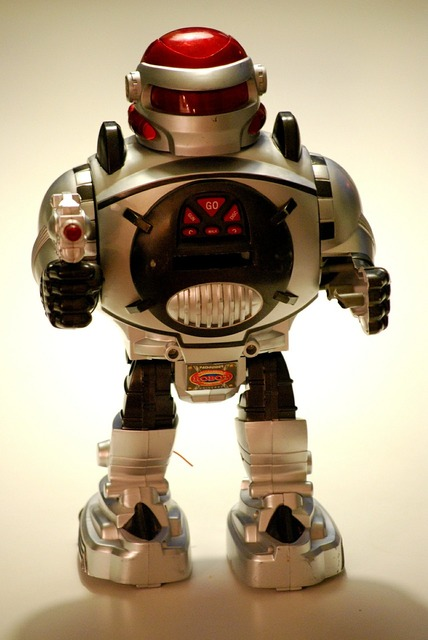 Toy robot android, science technology.