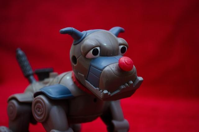 Toy robotic dog, animals.