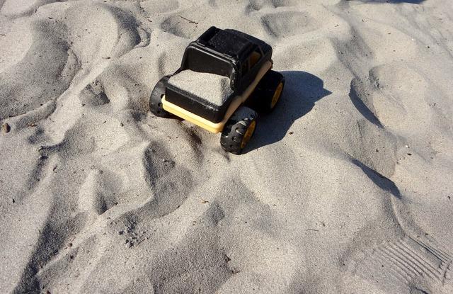 Toy truck sand, transportation traffic.