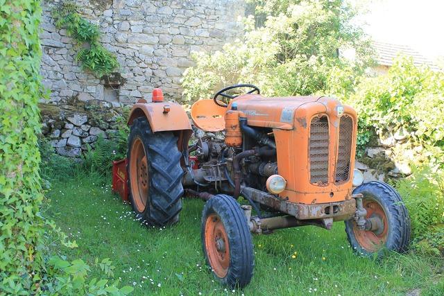 Tractor orange agricultural.