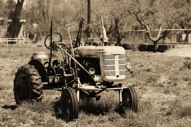 Tractor retro farm, nature landscapes.