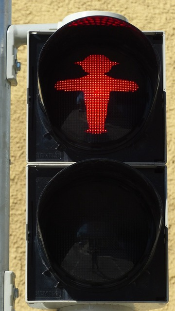 Traffic lights footbridge little green man, transportation traffic.