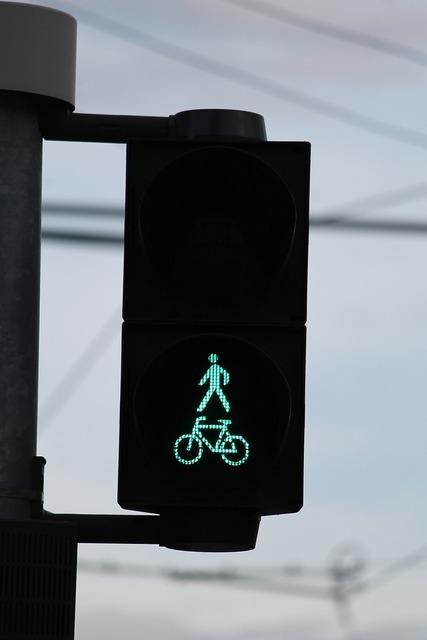 Traffic lights green pedestrian, transportation traffic.
